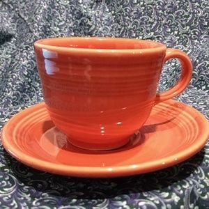 Fiesta Ware Orange Cup and Saucer